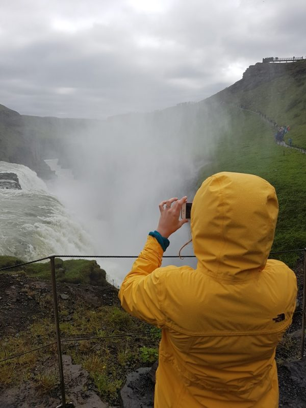 Gullfoss waterfall with a local guide on the Golden Circle