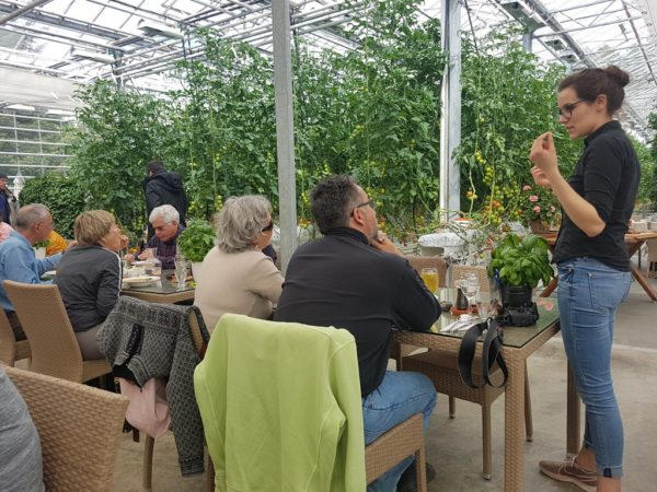 Having a meal inside a greenhouse