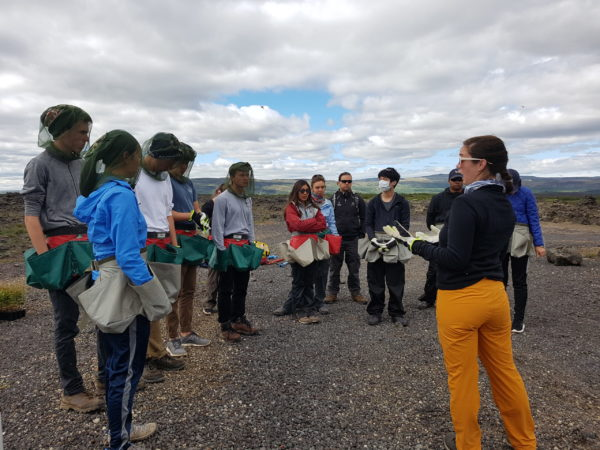 students on study abroad program on Sustainability in south iceland learning about treeplanting and soil conservation