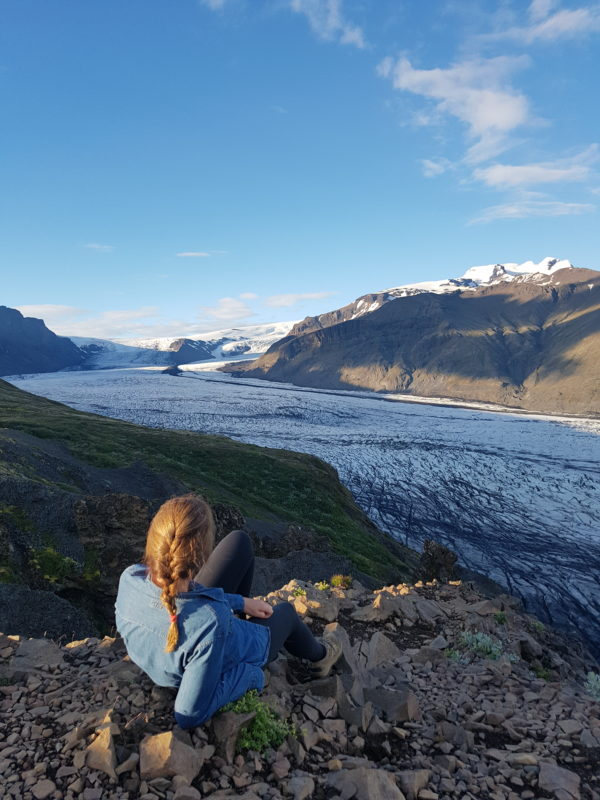 Students on study abroad program in sustainability experiencing glaciers in south Iceland