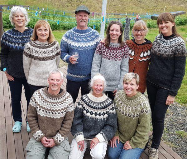 Educational tour people wearing Icelandic woolsweaters