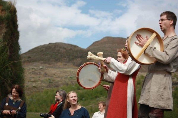Students on a study abroad program in Iceland learning about viking settlers and settlement era in Iceland