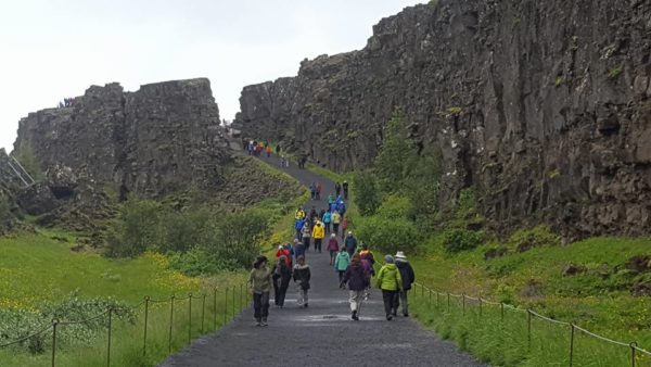 Students on study abroad program learning about geology at Þingvellir national park in south iceland