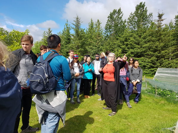 Students on study abroad program in south Iceland learning from local permaculture farmers