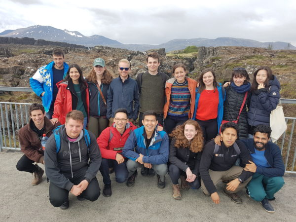 A group of students on study abroad program in Iceland visiting Þingvellir national park